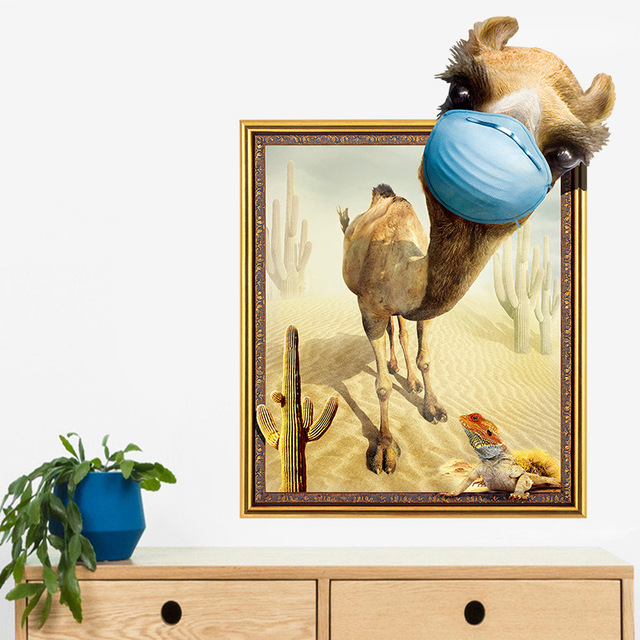 US $4 99 |Cute 3D Window Decals Caravan And Camel Wall Stickers Wallpapers  Large Art Sticker People For Living Room Decoration Sweet Room-in Wall