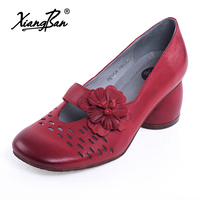 Брендовые дизайнерские женские кожаные туфли ручной работы с закрытым носком, женские туфли лодочки с квадратным носком на толстом каблуке