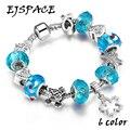 Fashion Silver DIY Charm Bangle & Bracelet with Love Star Heart Crystal Ball for Women  Friendship Charm Bracelets Bijoux