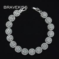 BRAVEKISS bridal wedding cz pave round charm tennis bracelets for women flower bracelets & bangle armband jewelry BUB0007