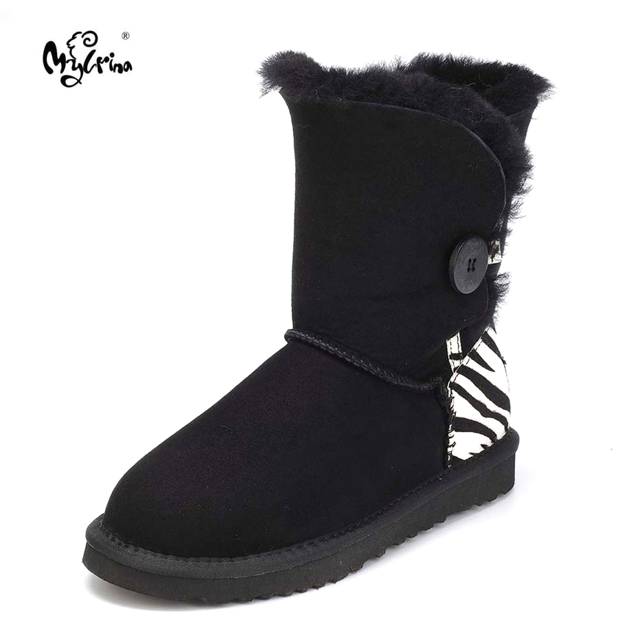 Top Quality Genuine Sheepskin Leather Real Fur Snow Boots New Fashion Brand Wool Mid-Calf Botas Mujer Winter Shoes For Women