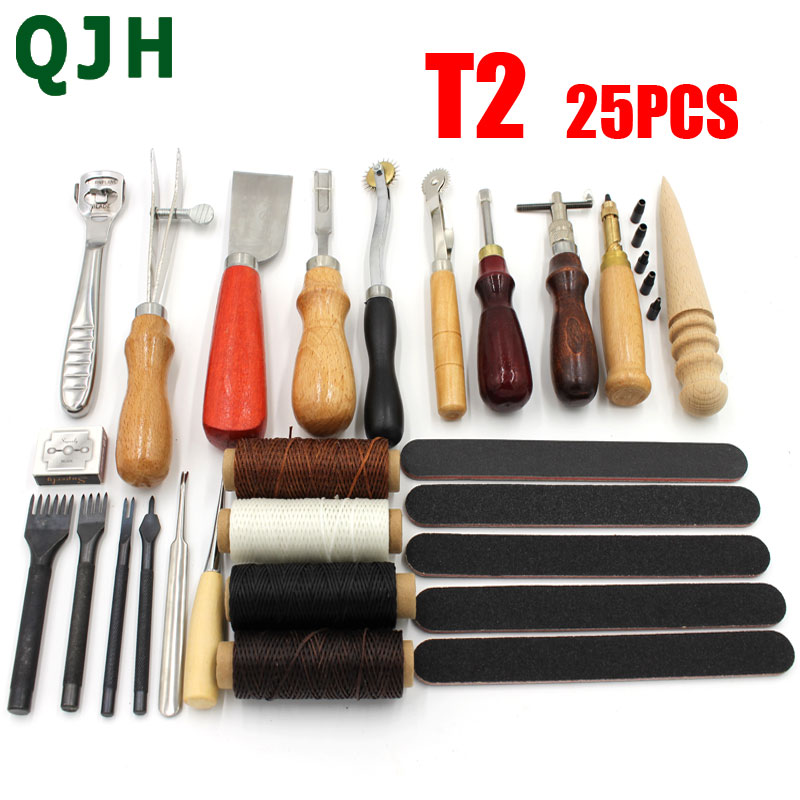 Leather Craft Tools Kit Hand Sewing Stitching Punch Carving Work Saddle Punching Cutting Tool