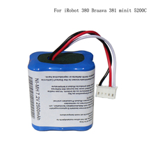 2000mAh Battery for iRobot380 Braava380t Mint 5200C 7.2V NI-MH 2600mAh battery pack Sweeper Vacuum Cleaner Batteries