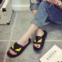 2017 New fashion Brand Women Black Monster Flip Flops Sandals Flat Slippers Casual Summer Beach Shoes superstar shoes size35-44