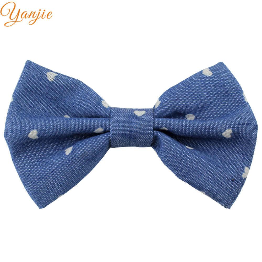 12 cái/lốc 4 ''Denim Tóc Bow Cô Gái Rắn Lớn Clip Cung Tóc Cho Trẻ Em DIY Headband Tóc Bows Tóc phụ kiện