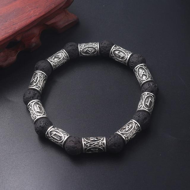 Bijoux rongji rétro perles de pierre de lave Viking rune Bracelets amulette thor Cosplay bijoux 2