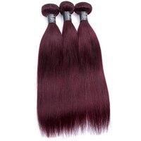 Jsdshine волос предварительно Цветной индийские прямые волосы 3 пучки бордовый 99J красного цвета не Реми Пряди человеческих волос для наращиван...