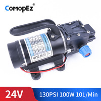 DC 24V 100W 130PSI 10L / Min Water High Pressure Diaphragm Pump Self Priming Reflux Pump Automatic Switch For Garden Wagon Campe