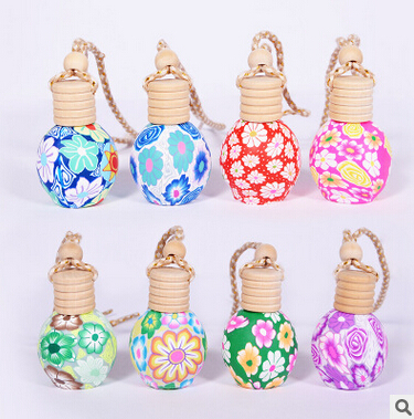 Image 2 - High Quality 12ML/15ML Mix Style Polymer Clay Car Perfume Hanging Bottle with Wooden Cork 100PCS/LOT-in Refillable Bottles from Beauty & Health