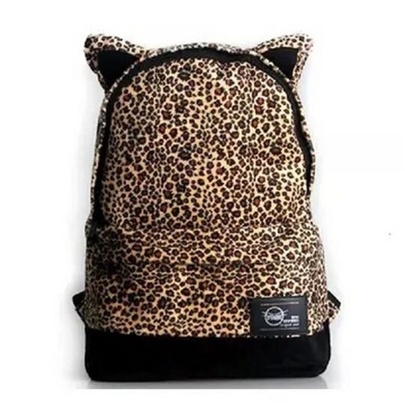 New canvas leopard cat ear institute wind backpack fashion Female shoulders knapsack couples laptop bag delivery free of charge dermis women bag 2016 new leisure backpack camouflage personalized backpack korea institute of wind schoolbag