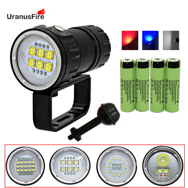 LED Diving Flashlight Underwater 80M XHP70 XM L2 Blue White Red LED Photography Video Camera Tactical Flashlight Torch Lighting