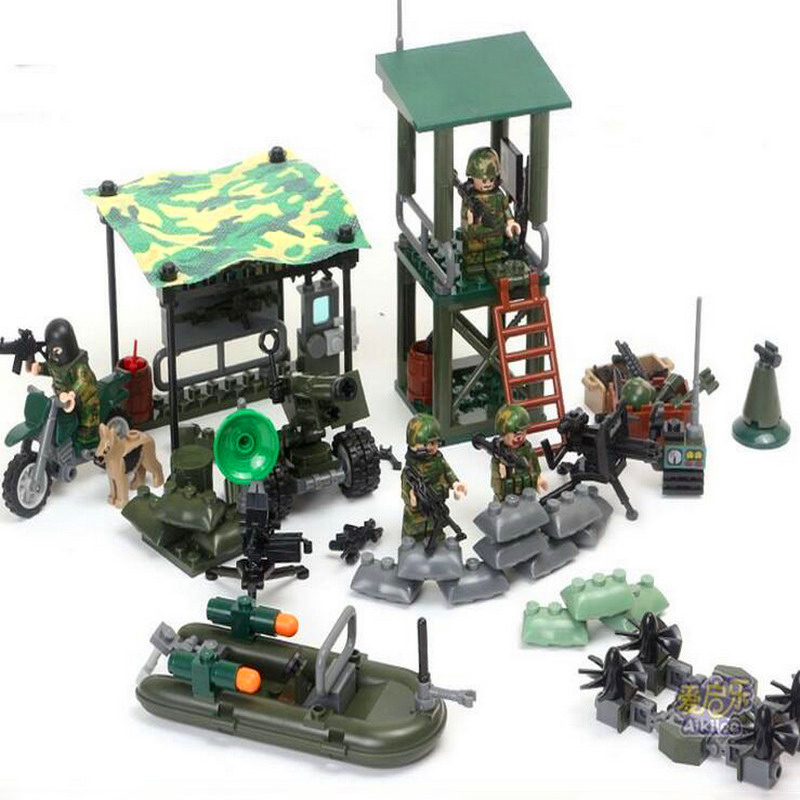 GUDI 8009 4 In 1 Military Firewar UAV Boat Outpos Soldier Lookout Dog Building Blocks Brick Set Compatible Playmobil Toys-in Blocks from Toys & Hobbies