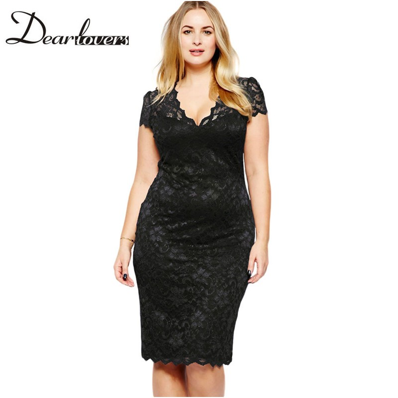 5a540a7bd75 Dear lover Summer 2017 Women Plus size Dresses Black Scalloped V neck Short  Sleeve Lace Formal Midi Office Work Dress LC6415-in Dresses from Women s ...