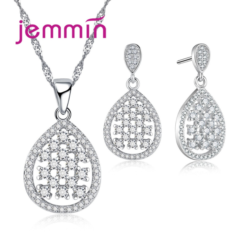 Hollow Raindrop Crystal Přívěsek Svatební šperky Set 925 Sterling Silver Silver Color náhrdelník / náušnice jemné šperky pro ženy.
