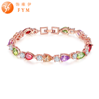 FYM Brand Fashion Cubic Zirconia Rose Gold Color Bracelets Bangles Water Drop Bracelets Female Jewelry Wholesale