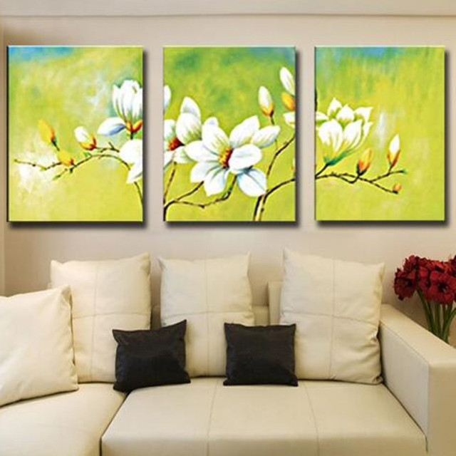 Hand painted White Flower Oil painting on Canvas 3 Panel Pictures ...