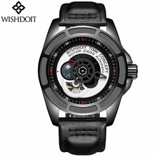 2018 Mens Watches Skeleton Tourbillon Moon Phase Automatic Mechanical Leather Watch Fashion Gear dial Rotary Table Male Clock все цены