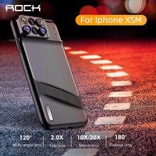 Rocha lente caso do telefone para o iphone xs max olho de peixe grande angular macro lente telefoto lente macro 6 em 1 lentes tpu cobertura completa