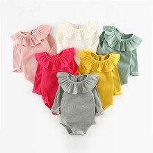 Милая одежда для маленьких девочек, весенне-осенний костюм для новорожденных девочек, цельнокроеная Одежда для маленьких девочек 0-24 месяцев, боди для маленьких девочек