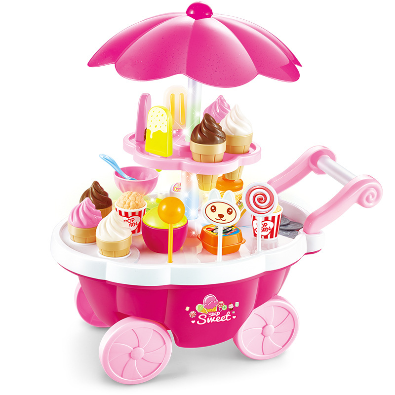 Electric Music Ice Cream Mini Candy Cart Children's Cart Set Baby Toys for Children's Xmas or Birthday Gift novel mini golf cart pen set blue
