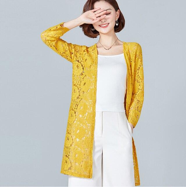 da668d5e411f1f Lace Crochet Kimono Cardigan Women Beach Plus Size Kimono Mujer 2019 Summer  Hollow Transparent Female Shirts Sunscreen Blouse