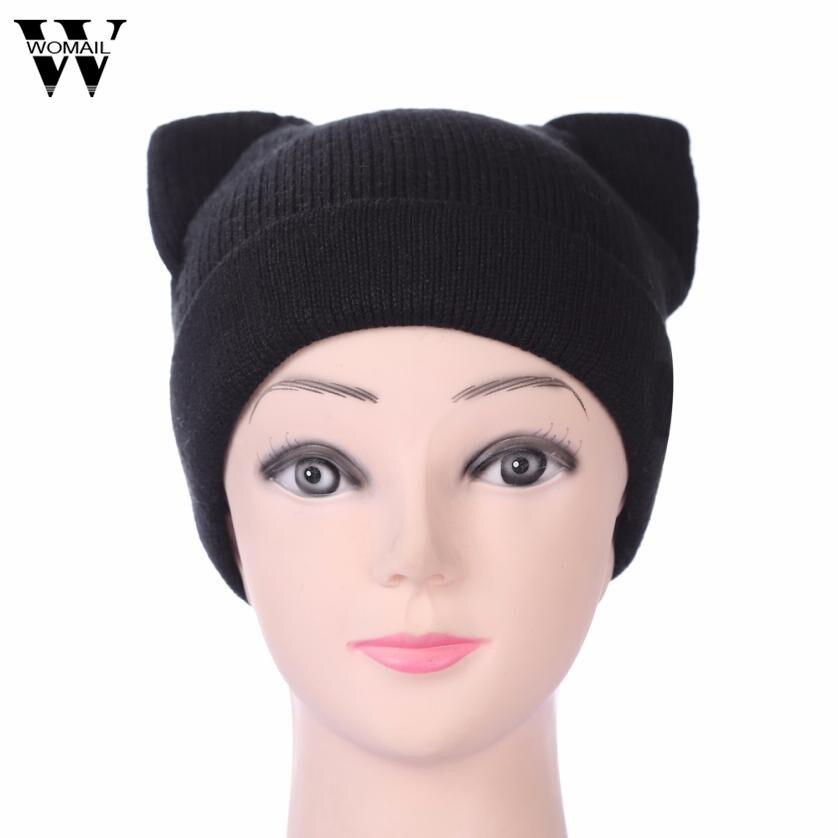 b359b31f1fb Women Real Fur Wool Hat Warm Casual Striped Cat Ear Winter Hats Natural Fur  Beanie Whole ...