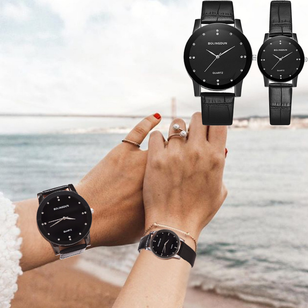 Couple Watch Clock Case Strap Stainless-Steel Lover's Casual Fashion Analog Business title=