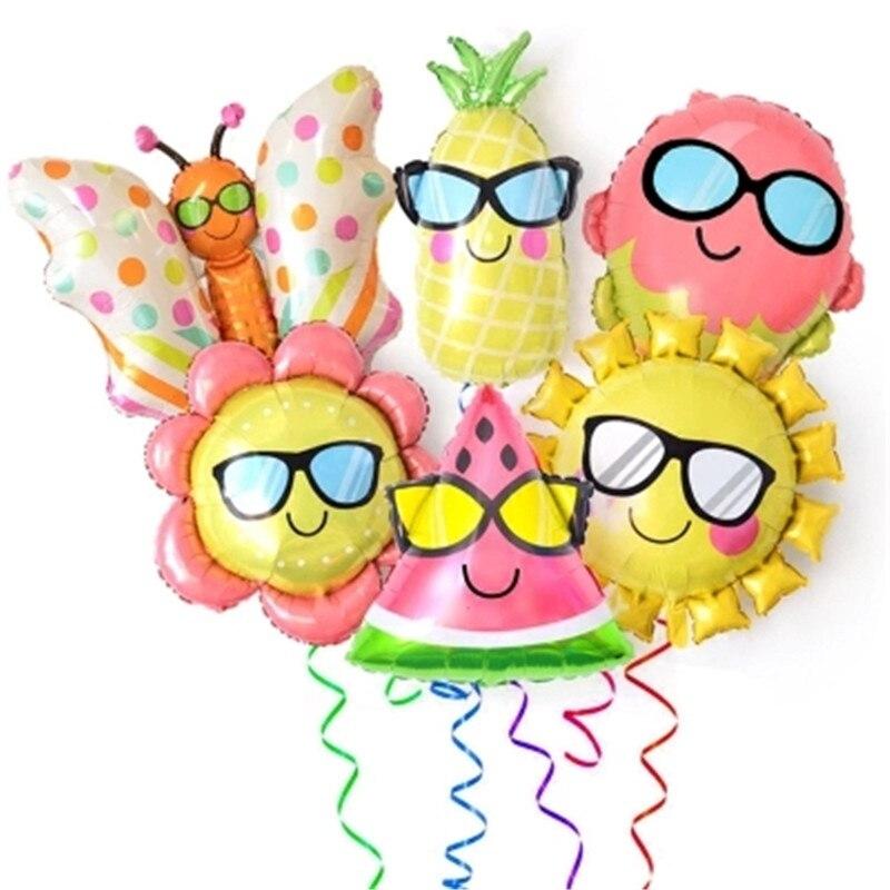 1pcs/lot Birthday Aluminum Balloons Fruit &  butterflies Head Cartoon Foil Balloons Kids Birthday Party Supplies  Decorations