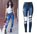 Горячая распродажа высокой талией разорвал кисточки джинсовые узкие джинсы брюки jegging карандаш брюки Большой размер полная длина для женщина женщины