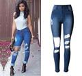Venda quente borlas de cintura alta rasgado jeans skinny jeans calças lápis calças jegging plus size completo para mulheres