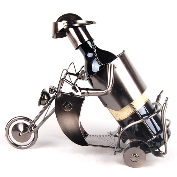 [Fornecedor de ouro] mercearia artesanato rack de vinho 1797 motocicleta artesanato de ferro forjado, artesanato de metal, vinho tinto, presentes, rack de vinho