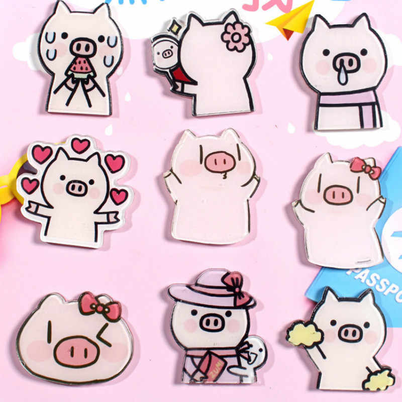 Cute Cartoon Spille k Pig Spille per Le Donne Kawaii Animale Acrilico Dei Monili Dello Smalto Spille Giubbotti jeans Collare Distintivo Pulsante con L'icona di Trinket