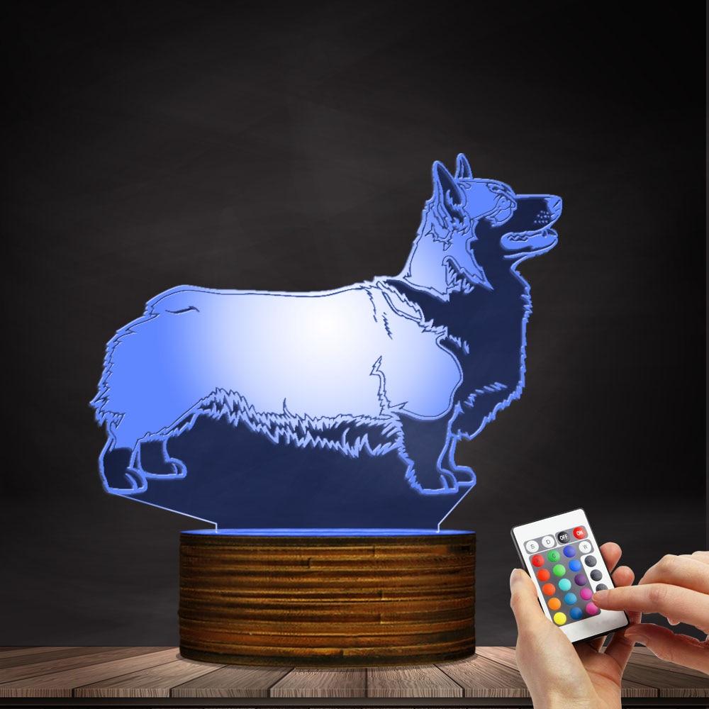Cardigan Welsh Corgi Dog Lighting 3D Optical illusion Light USB Night Lamp Animal Dog Glowing LED Light Home Decor Table Lamp modern design acrylic optical illusion 3d led lamp as home decor bedroom mood night light warm white usb table desk lamp zigzag