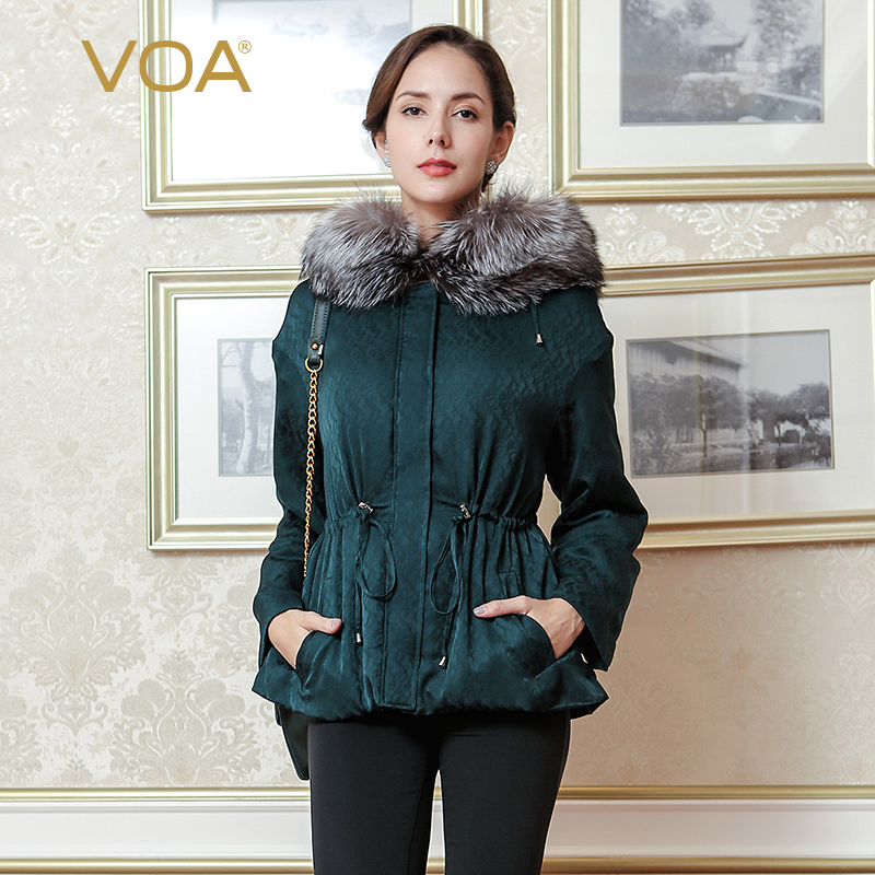 VOA blue fox fur collar dark cyan dobby silk parkas loose casual  adjustable waist pleated women winter coat M7292 dark blue doll collar pleated dress
