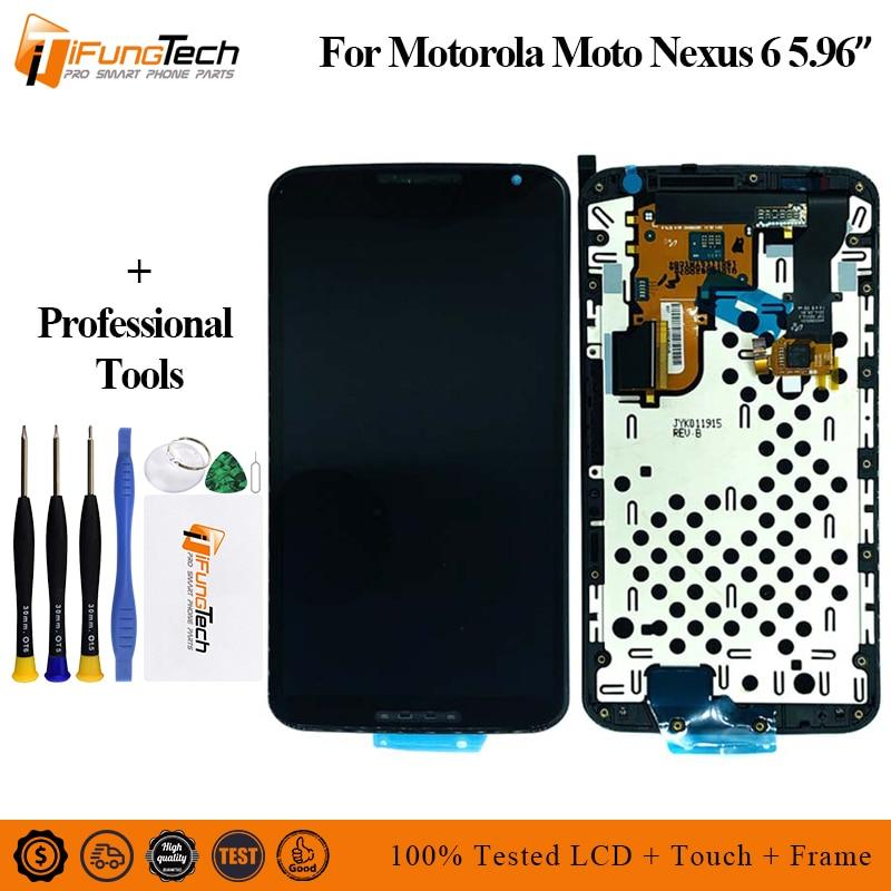 A + LCD pour Motorola Nexus 6 XT1100 XT1103 LCD écran tactile numériseur assemblée avec cadre 100% testé pour Moto Nexus6 LCD
