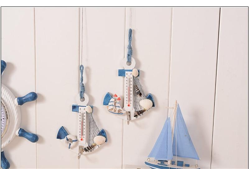 DIY Kinderzimmer Dekoration Thermometer Handwerk Anker Muschel Seestern  Mediterranen Stil Wall Art Home Holz Hänge Craft In DIY Kinderzimmer  Dekoration ...
