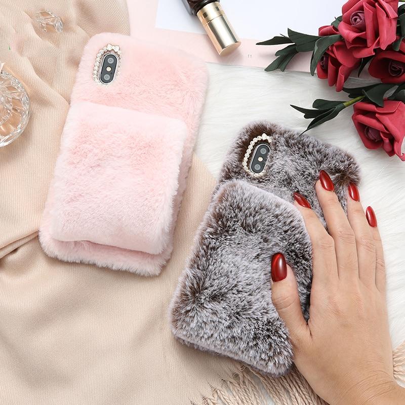 Rabbit Warm Fur Case For LG G7 ThinQ G6 G5 G4 G3 G2 Phone Case Cover For LG Q6 Q7 Q8 V30 V20 V10 With Bling Dimand Shell