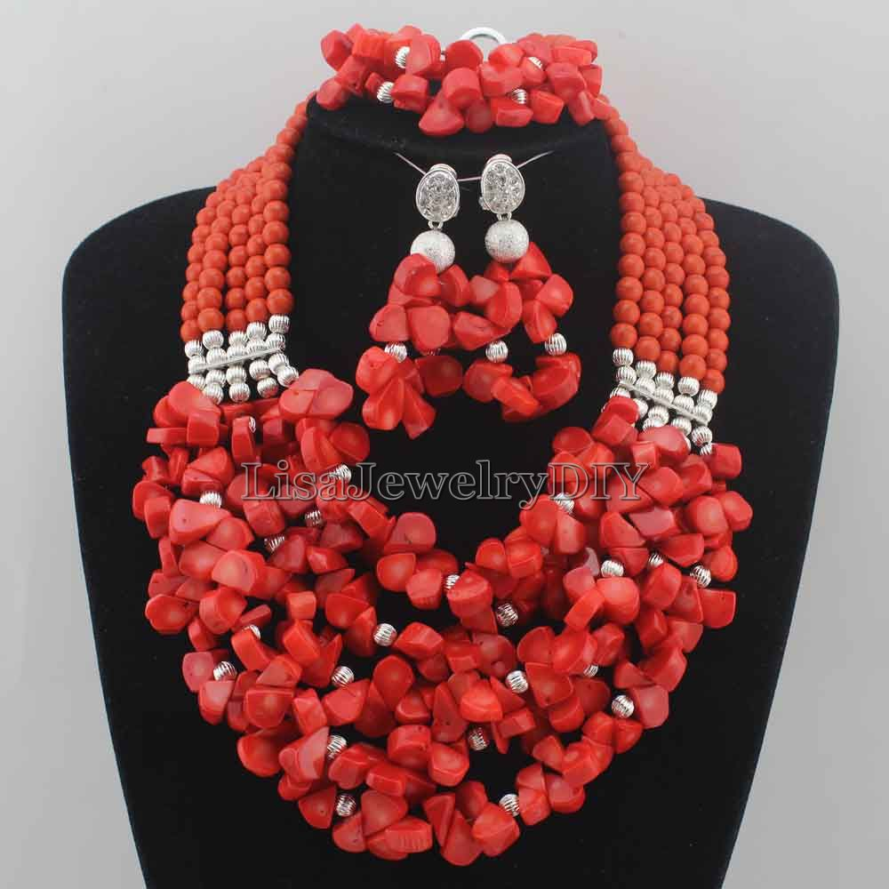 Nigerian Wedding African Beads Rushed Classic Women Coral Jewelry Sets New Arrived Nigeria Set Necklace Africa Beads HD6877