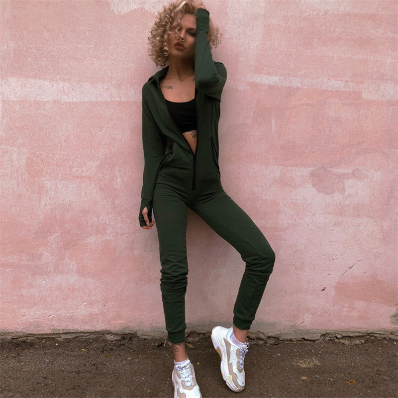 Long Sleeve Hooded Outfits Zipper Cotton Women Winter Jumpsuits Sexy Club Wear Jogging Bandage Bodycon Fitness Jumpsuit