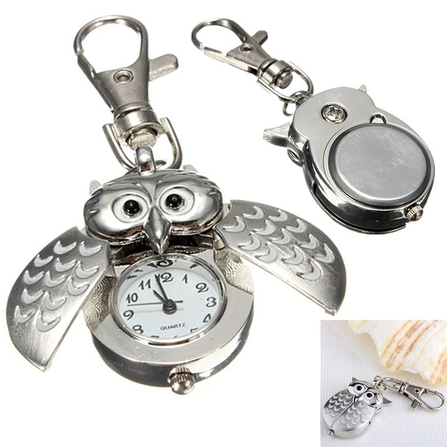 Gift Time Products Owl Clock Key Ring - Silver Silver (Colour) vxlRb