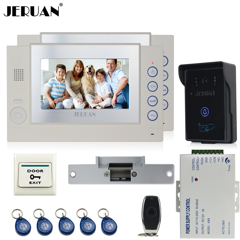 JERUAN two 8`` LCD Video Door Phone System 700TVT Camera access Control System+Cathode lock+Remote control+8GB card jeruan black 8 lcd video door phone system 700tvt camera access control system cathode lock remote control 8gb card