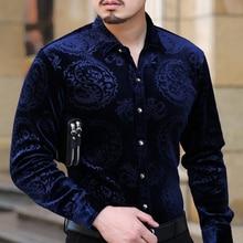 Mu Yuan Yang 2018 nueva moda de terciopelo engrosamiento Slim Fit de manga larga de los hombres vestido Casual camiseta tamaño M 3XL 50%