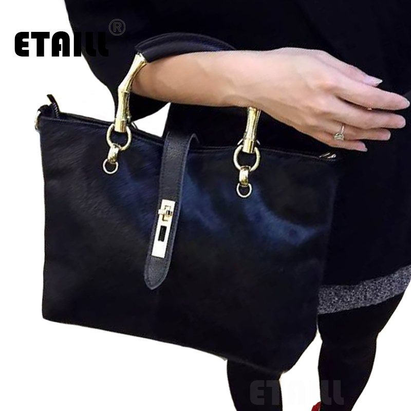 New Winter Horsehair Designer Famous Brand Split Leather Handbags High Quality Ladies Cowhide Horse Hair Shoulder Messenger Bag