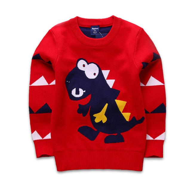 Dinossauro pullover criança outono inverno infantil camisola camisola criança menino menina bebê camisola de malha camisola de gola alta crianças outerwear
