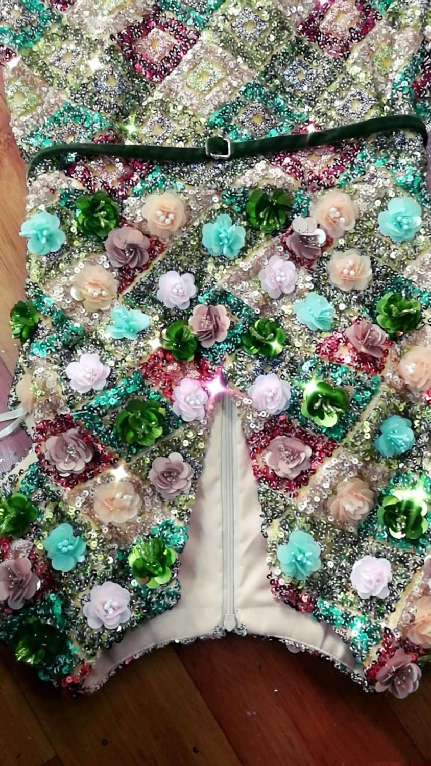 2019 Real Pictures Sequined flower Prom Dress Floor Length Special Occasion Gowns Custom Made Free Shipping