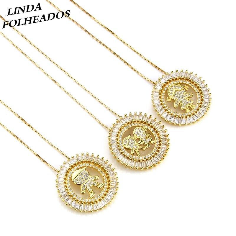 Nouveau conçu offre spéciale or cuivre or blanc cubique zircone garçons filles pendentif collier bijoux pour anniversaire cadeau anniversaire