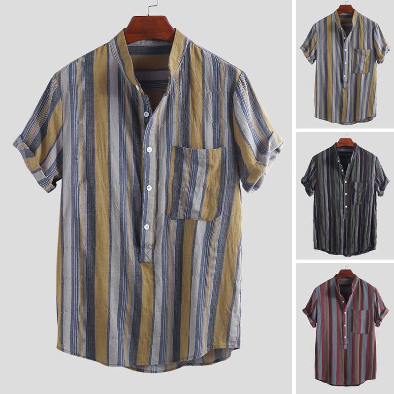 2019 Summer Men Chic Striped Pockets Short Sleeve Casual Shirts Literary Daily Wild Stand Collar Mens Blouse Camisa Masculina