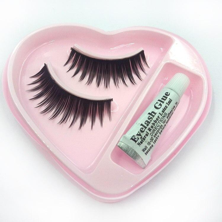 1 Pair Sell Peach Heart False Eyelashes Korea Natural Naked Makeup Long False Eyelash Handmake Eye Lashes Makeup Kit Gift #014 False Eyelashes