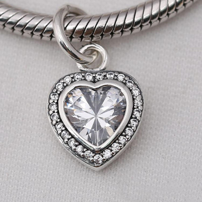 European 925 Silver CZ Heart Charm Beads Pendant Fit Bracelet Necklace Chain