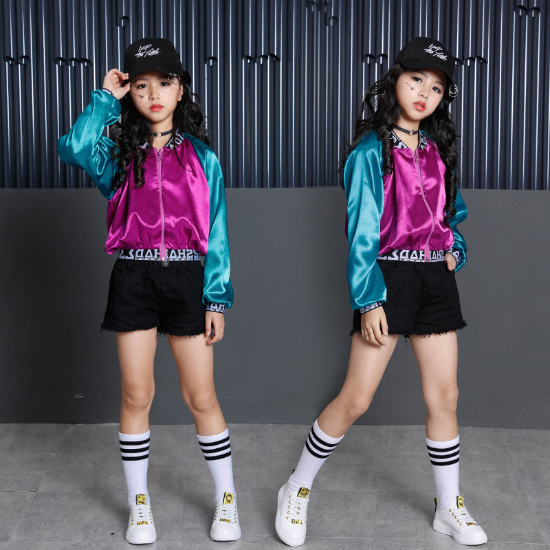 Kids Hip Hop Clothing Clothes Jazz Dance Costume For Girls Color Block Jacket Crop Tank Tops Shorts Ballroom Dancing Streetwear
